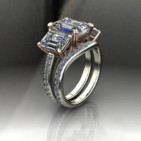 Three Stone Engagement Ring and Band Forever Brilliant Moissanite and Diamond 7.56 CTW