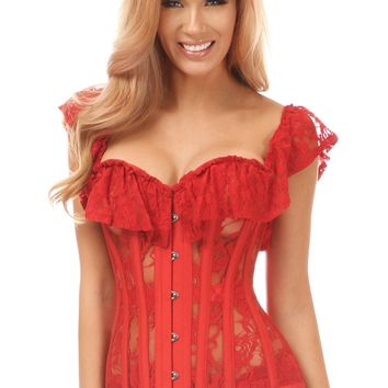 Daisy Corsets Top Drawer Red Sheer Lace Steel Boned Corset