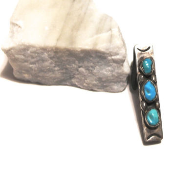 Vintage Navajo Tie Clip, Sterling Silver and Turquoise Tie Clasp,Native American Tie Bar,Southwestern Jewelry,Small Tie Clip,Vintage Jewelry