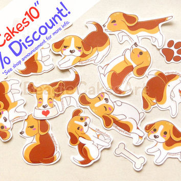 Beagle Stickers. Dog Stickers. Puppy Sticker. Kawaii Sticker. Laptop Sticker. Waterproof Sticker. Planner Stickers. Gifts for Dog Lover. Art