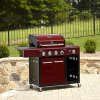 Outdoor Portable Backyard BBQ Barbeque Gas 4 Burner Grill Pit with Storage