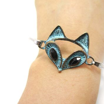 Classic Silver Bangle Bracelet Cuff with Antique Fox Face Pendant | Animal Jewelry