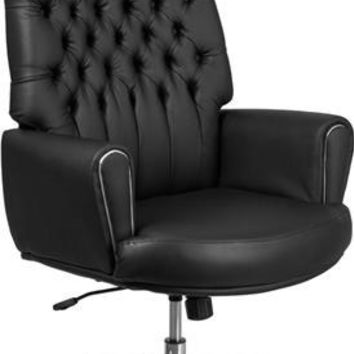 High Back Traditional Tufted Black Leather Executive Swivel Chair with Silver Welt Arms