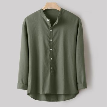 Fashion Men Casual Button-Down Shirt Simple Long Sleeve Cotton Linen Shirt Top Army Green
