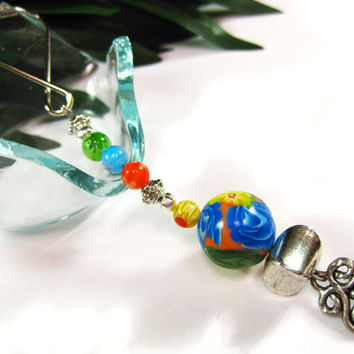 Unique Key Ring with Handmade Polymer and Coordinated Glass Beads, Polyclay Bead, Accessories, Teacher Gift, Handcrafted Gift, Key Chain