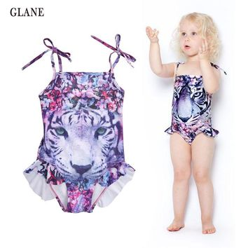 Girls Swimwear Mermaid Princess One Pieces Swimsuit Kids Siberian Tiger Swimming Suit For Girl Children Bathing Suit