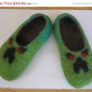 SALE Minecraft felt slippers: 20% OFF. Gift under 50. Creeper, Enderman. Made to order