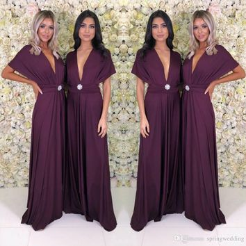 Dark Purple Long Women Party Dress 2019 Cheap Summer Boho Cap Short Sleeve Deep V Neck Long Bridesmaids Evening Party Gowns yl57-2103