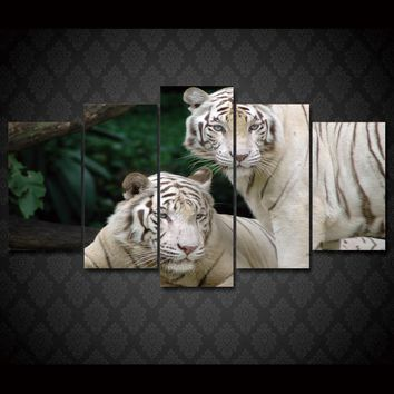 White Tigers 5 panel  printed wall art on canvas Framed UNframed