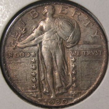 1930 Silver Quarter Coin, Rare Date Coin, Standing Liberty Silver Coin, Silver Quarter, US Silver 25 Cent, 1930 Coin, Standing Liberty 25c