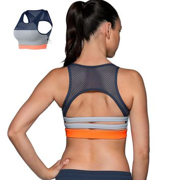 Hollow out 3 color Patchwork Full Cup push up Sports Bra