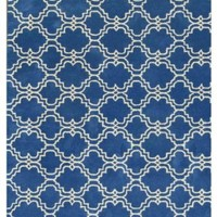 ADC Rugs Moroccan Scroll Tile Handamde Wool Area Rug, 8-Feet by 10-Feet, Blue and Ivory