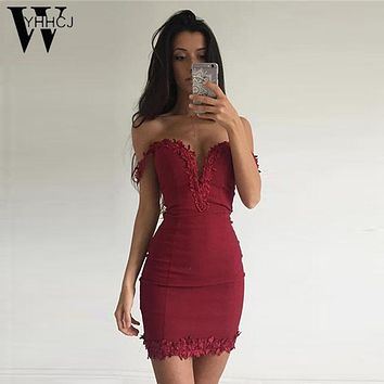 WYHHCJ  Women Summer  Dress Sexy V Neck Sleeveless Vestidos 2017 Mini Red/ Black Lace Hollow Out Party Bandage Dress