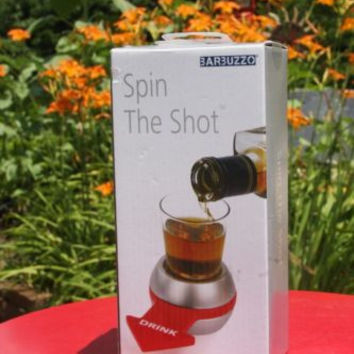 Barbuzzo Spin the Shot Adult Party Drinking Game Bar Glass Spinner NIB Sealed