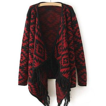 Stylish Turn-Down Collar Fringed Loose-Fitting Long Sleeve Geometric Cardigan For Women
