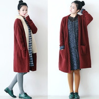 Solid Color Knitted Cable Edging Open Front Cardigan