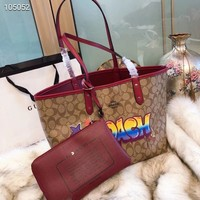 NEW 2018 COACH Women Shopping Leather Tote Handbag Shoulder Bag