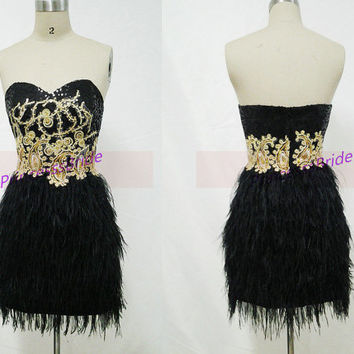 2014 short black prom dress with ostrich feather,unique gold sequins homecoming gowns,cheap women dresses for party hot.