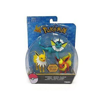 TOMY Pokemon Flareon Jolteon Vaporeon 3-Pack Action Pose Figure Set Authentic US
