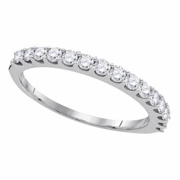 14kt White Gold Womens Round Pave-set Diamond Single Row Wedding Band 1/2 Cttw