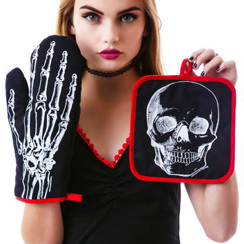 Sourpuss Clothing X-Ray Skeleton Kitchen Set Black One
