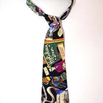 Holiday Inn, Novelty Silk Tie by American Fashion Designer Nicole Miller, Silk Necktie, Fun Funky Tie, Cartoon Neckwear, Hotel, Travel Plan