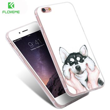 FLOVEME Cute Cartoon Case For iPhone 7 Plus 6 6S Plus 5S SE Dog Cover For Samsung Galaxy S6 S7 Edge S8 Plus Note 4 5 A5 A7 A3