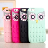 Case Cover for iPhone 3D Cute OWL Soft Rubber 4 4S 4G 5 5S 5G 6 6S 4.7