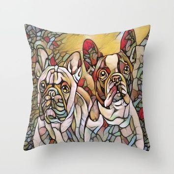bulldogs Throw Pillow by Girly Inspired Gifts