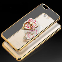 Luxury Bling Diamond Pattern Finger Ring Design Phone cases for iphone6/6s/6plus/6splus Metal+TPU protective Stand back housing