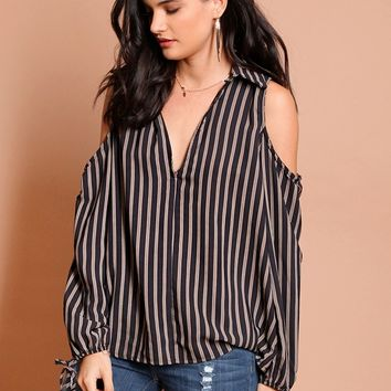 Split Decision Cold Shoulder Top | Threadsence