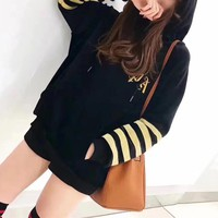 """Chrome Hearts"" Velvet Multicolor Stripe Letter Embroidery Long Sleeve Hooded Sweater Women Tops"