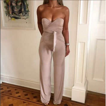 Sexy Off The Shoulder Bandage Bow Rompers Women Jumpsuit Combinaison Femme Summer Overalls Plus Size Elegant Bodycon Jumpsuits