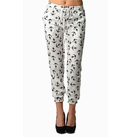 White Anchor Print Chiffon Harem Pants