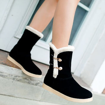 Women Snow Boots Artificial Suede Winter Shoes Woman 2016 3480