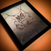 Engraving of Owl on sheetmetal