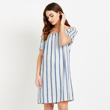 Chicloth  Off Shoulder White and blue vertical stripes Dress