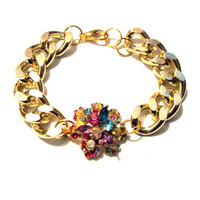 Fancy Bling Chunky Link Rhinestone Flower Bracelet - Arm Candy - Gold plated finish