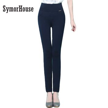SymorHouse  New women pants High stretch OL ladies office work wear pencil pants black  White female High Waist trousers women