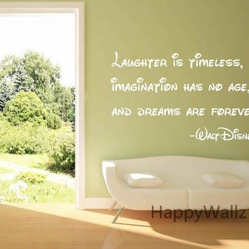 Motivational Quote Wall Sticker Laughter is Timeless Imagination Has No Age Dreams Are Forever DIY Inspirational Quote Decal Q56