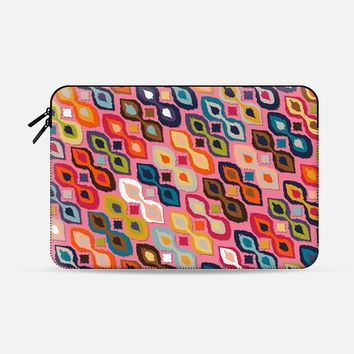 "carnival ikat pink Macbook Pro 13"" sleeve by Sharon Turner 