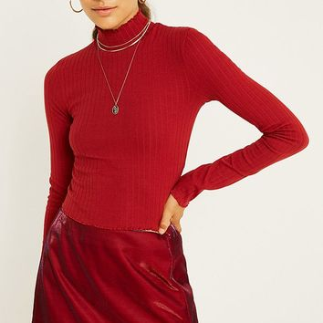 UO Ribbed Long-Sleeve Funnel Neck Top | Urban Outfitters
