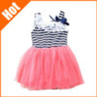 retail promotion hot selling baby girls sleeveless striped dress Mint Green white red color clothing for 0-2 years old kids - Default