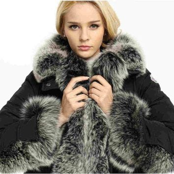 Fashion Jackets Real Fur Super Large Fur Hood Down Parkas Winter Warmest Coats Black Green XL