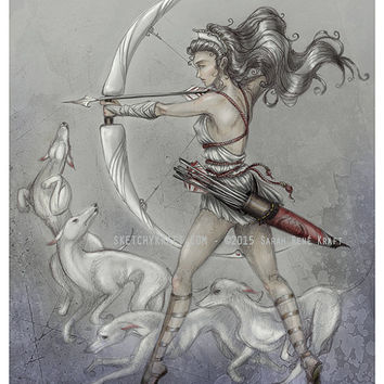 Artemis, Goddess of The Hunt - Original Art Print