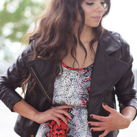 Faux Leather Moto Jacket - Furor Moda