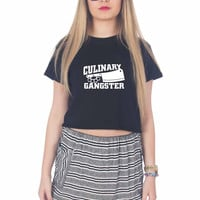 Culinary Gangster Chef prep Cook food For Womens Crop Shirt **