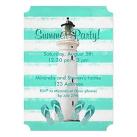 Summer party beach and nautical theme card