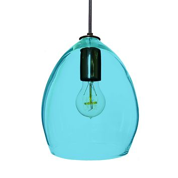 Hand Blown Modern Orb Glass Egg Aqua Blue Glass Pendant Light