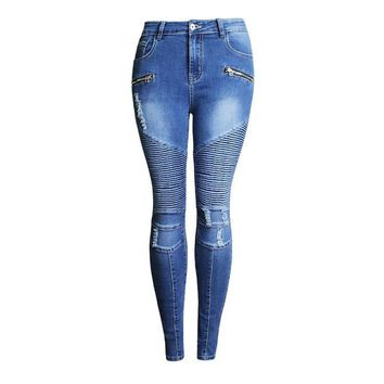 Women`s Fashion Punk Motorcyle Patchwork Stretch Slim Fit Ripped Denim Pants Skinny Jeans Woman High Waist Jeans Femme 2077-1